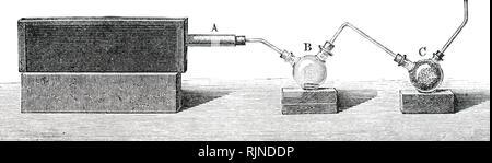 Una incisione raffigurante un'apparecchiatura da laboratorio per la distillazione distruttiva del gas di carbone. Datata del XIX secolo Immagini Stock