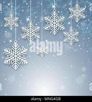 Decorativo sullo sfondo di Natale con il Libro bianco di fiocchi di neve. Anno nuovo bigliettino. Illustrazione Vettoriale. Immagini Stock