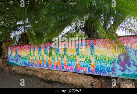 Hanalei Kauai Hawaii murale colorato piastrella di segno sulla parete North Shore Immagini Stock
