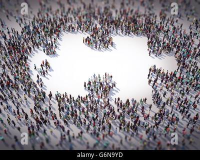 Un folto gruppo di persone formando un puzzle simbolo - 3D illustrazione Immagini Stock