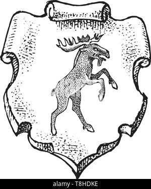 Per animale araldico in stile vintage. Inciso lo stemma con le alci. Emblemi medievale e il logo del regno fantasy. Immagini Stock