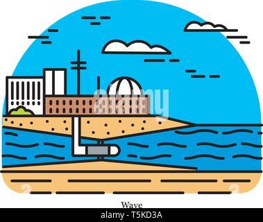 Onda di vento power plant. Convertitore di energia. Potente o stazione di generazione. Impianti di dissalazione o pompaggio di acqua. Edificio industriale icona. Fonti ecologiche Immagini Stock