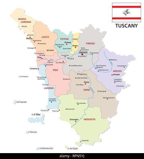 Toscana Fisica Cartina.Toscana Politica E Amministrativa Di Mappa Con Bandiera Immagine E Vettoriale Alamy