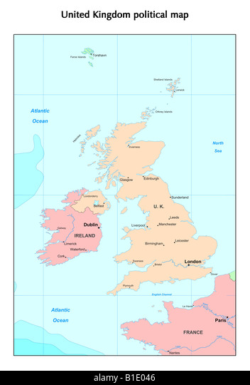 Gran Bretagna Cartina Geografica Politica.Regno Unito Paesi E Irlanda Mappa Politico Inghilterra Scozia Galles E Irlanda Del Nord Foto Stock Alamy