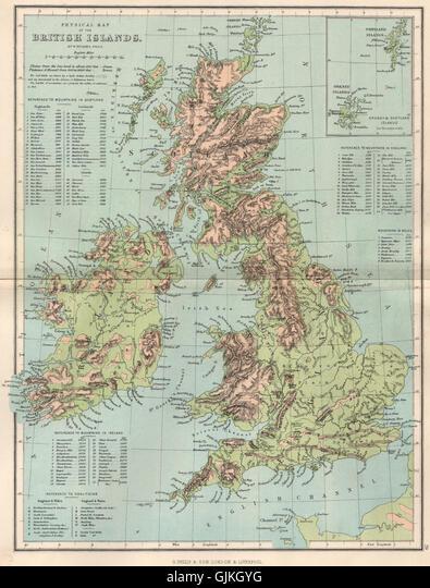 Cartina Fisica Regno Unito Da Stampare.Regno Unito Cartina Fisica Isole Britanniche Inset Di Orkney E Shetland Islands 1886 Foto Stock Alamy
