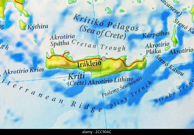 Cartina Geografica Dell Isola Di Creta.Mappa Geografica Dell Isola Europea Di Grecia Creta Foto Stock Alamy